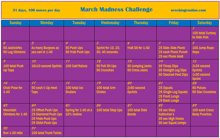 31 Days 100 Moves March Fitness Challenge