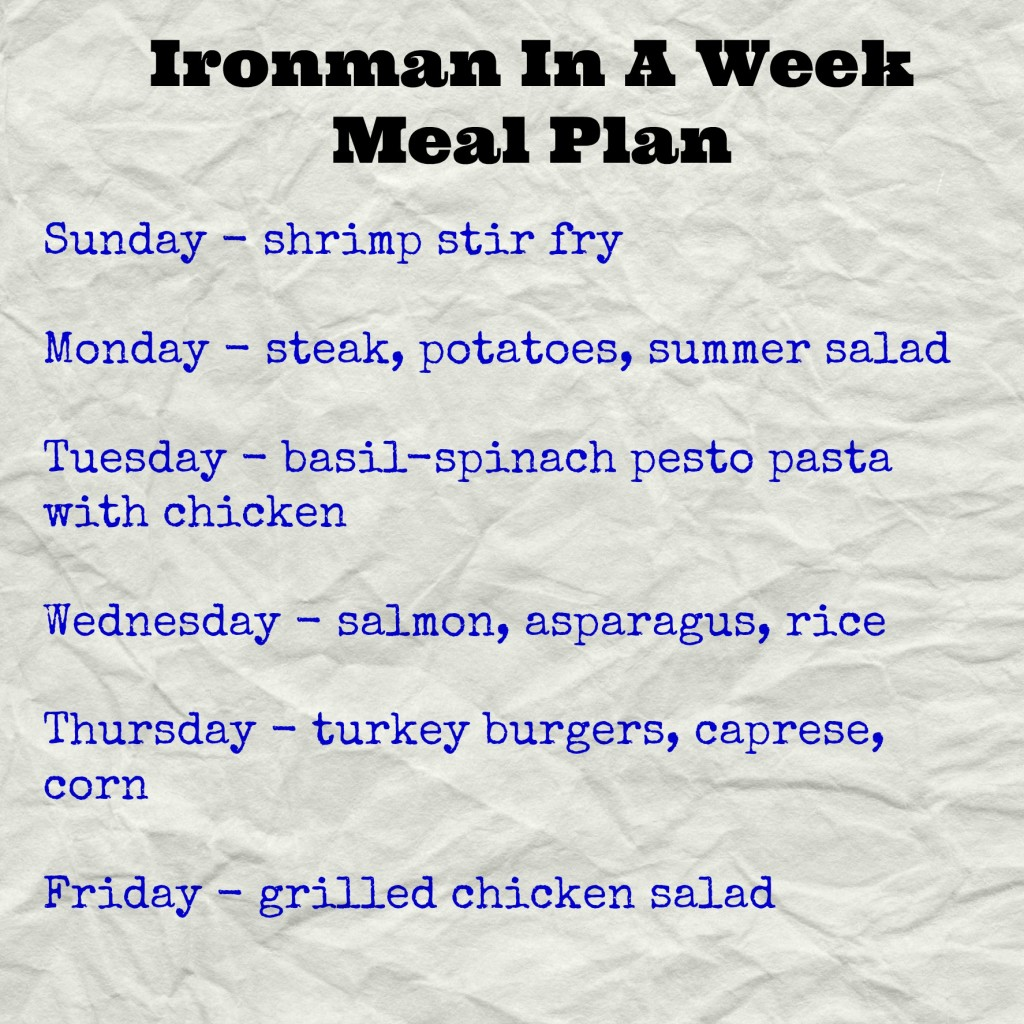 Ironman in a week - meal plan