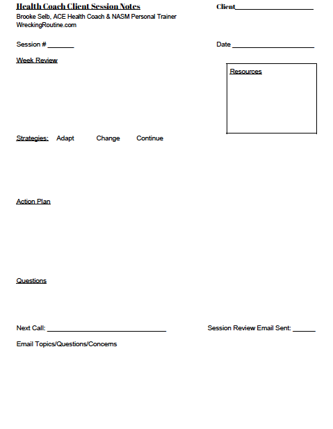 Health Coach Session Worksheet