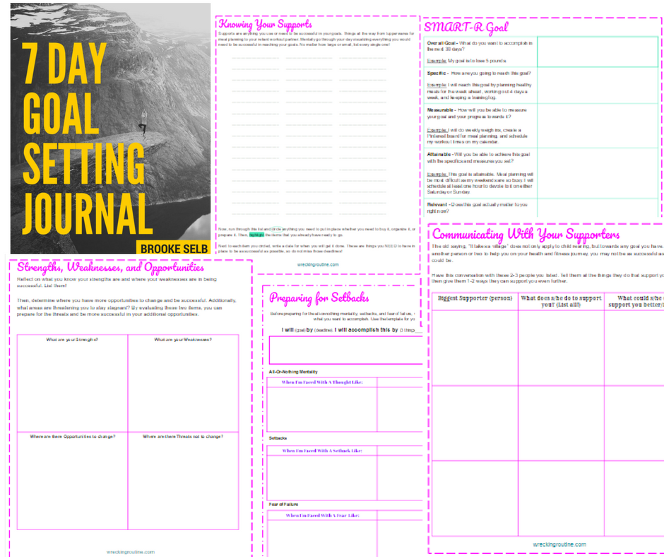 7 Day Goal Setting Journal - Page Breakdown