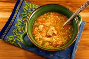 Spicy Chicken Rice Soup with spoon